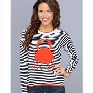 Black &White Crab Sweater Nautical Women's Large